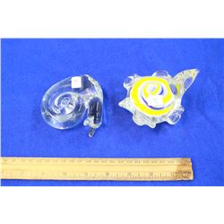 Two Heavy Glass Paper Weights (Turtle and a Snail)