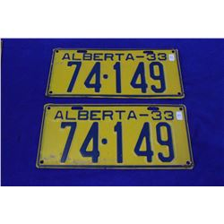 "1933 Alberta License Plates (2) - ""74.149"""