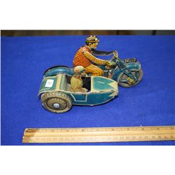 Tin Toy Motorcycle with Side Car - (as is)