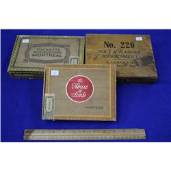 Three Wooden Boxes: (2) Cigar boxes; (1) Bolt & Washer Box #220