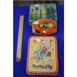 "Two Colorful Tins and (1) ""Porky Pig"" Music Maker (wind-up)"