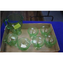 "Green Depression Glass ""Florentine"" No. 1 (7 pcs)"