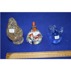 Three Glass Bird Paper Weights