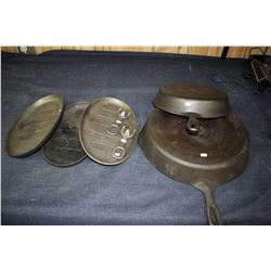 """Cast Iron Frying Pans (2) - 12"""" & 10½"""" (Made in USA) and (3) Cast Iron Oval Pans with Removable Hand"""