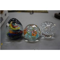 Three Paper Weights (Glass)