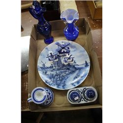 Collection of Blue Porcelain & Glassware