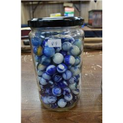 Jar with Blue & White Marbles