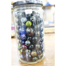 Jar with Dark Green & Black (Multi-colored) Marbles