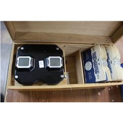 """""""Sawyers"""" View Master - in the Original Wooden Box with 15 View Master Reels"""