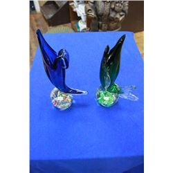 Fish Paper Weights (2) - Hand Blown (1 has a Chip)