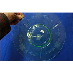 Green Glass Serving Plate (Depression)