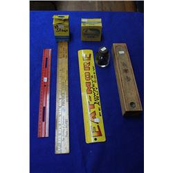 Pencil Box, (3) Ink Bottles, (3) Rulers - 'Eatmore', 'Phoenix Press Co.' & 1 Plastic