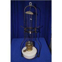 Aladdin Hanging Lamp with Milk Glass Bottom, Chimney, Shade Holder and Hanger