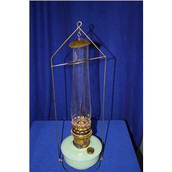 Aladdin Hanging Lamp with Green (Jade-like) Bottom, Chimney and Hanger