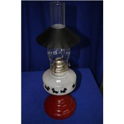 Scotty Dog Coal Oil Lamp (10 Dogs) with Red and White Base