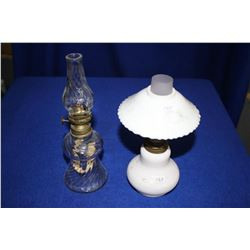 Two Small Lamps - (1) Clear Glass & (1) Milk Glass with a Shade