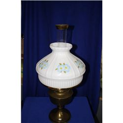 Aladdin Table Lamp with Copper Base, Floral Milk Glass Shade; Chimney with Screen