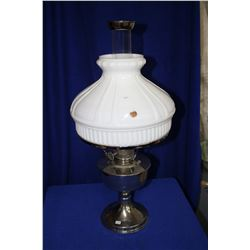 Aladdin Table Lamp with Metal Base, Milk Glass Shade, Chimney with Screen