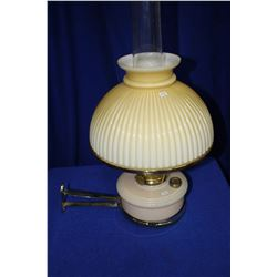 Aladdin Wall Bracket Lamp with Pink Glass Base, Pink/Beige/White Variegated Shade including Wall Bra