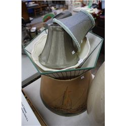 Collection of (5) Fabric and Paper Lamp Shades