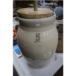 Medalta Potteries Five Gallon Butter Churn with Primitive Paddle, Wooden Lid & 2 Handles