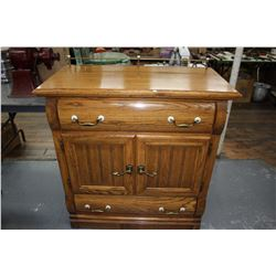 Cabinet with 2 Doors, 2 Drawers, Brass Handles & Trim