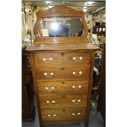 Gent's Oak Highboy with Mirror