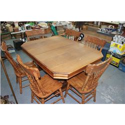 Oak Table with 6 Chairs (North Wind Pressed Back)