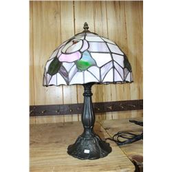 Stained Glass Electric Table Lamp with Plastic Shade