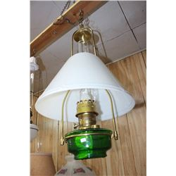 Aladdin Hanging Lamp with Green Glass Base - Complete with Spark Deflector - (Complete)