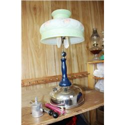 Gas Lamp with Floral Glass Shade, Pump, Funnel & Generator Mantles