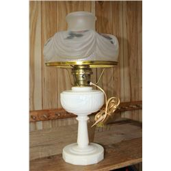 Aladdin (Electric) Lincoln Drape (Milk Glass) Lamp with Opaque Floral Shade