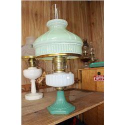 Aladdin Lamp with Green Base, Matching Green Glass Shade & Milk Glass Font