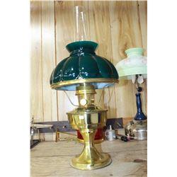 Aladdin Lamp with Metal Base & a Dark Green Glass Shade