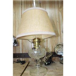 Aladdin Washington Drape Clear Glass Electric Lamp with Fabric Shade