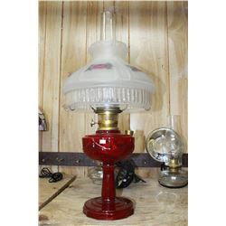 Aladdin Lincoln Drape Lamp with Red Base & Floral Glass Shade