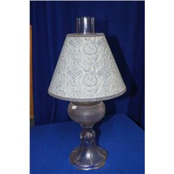 Coal Oil Lamp with Clear Bottom, Opaque Font & Fabric Shade