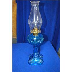 Bull's Eye Coal Oil Lamp with Blue Glass Base