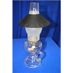 Finger Lamp with Clear Glass Base, Frosted Chimney & Shade