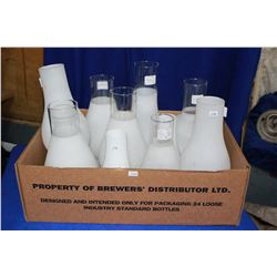 Box of 10 Frosted Glass Lamp Chimneys (Assorted Sizes)