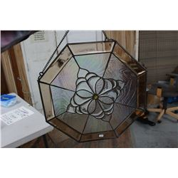 Octagon Stained Glass - Brownish Color - (can hang)