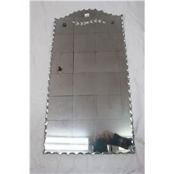 Wall Mirror with Etched Design and Fancy Edge