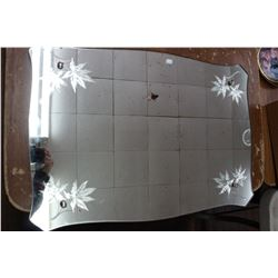 Rectangular Wall Mirror with Etched Leaf Corners
