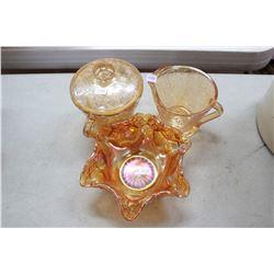 Cream & Sugar and Carnival Glass Candy Dish