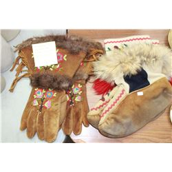 Beaded Leather Gloves (1 pr.) - made in the 1940's; 1 Pr. Of Moccasins (Leather & Fur with Decorativ