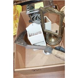 Box with:  Toaster (as is); Sickle; Mirror; Matchbox, etc.