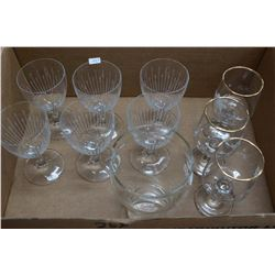 Box of Glasses:  6 Crystal and 4 Miscellaneous