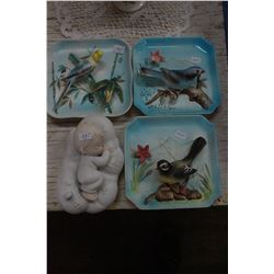 3D Bird Plaques (3) and a Precious Moments Baby Plaque