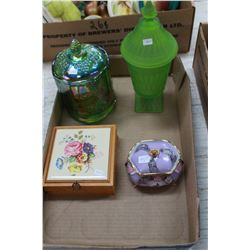 Carnival Glass Covered Dish; Green Satin Glass Covered Dish; Covered Box & China Footed Musical Box