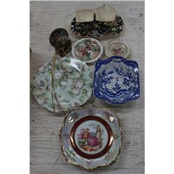 Collection of China: Royal Winton Cream & Sugar; Small Plates (6); Candy Dishes (2) & Serving Plate